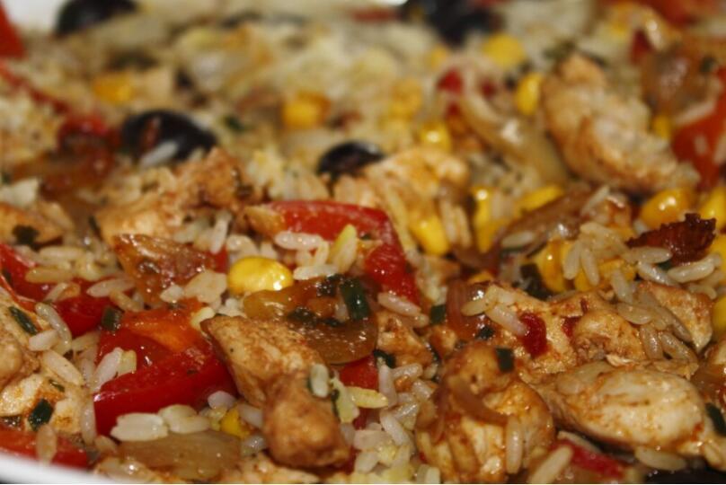 Chicken paella , Spain