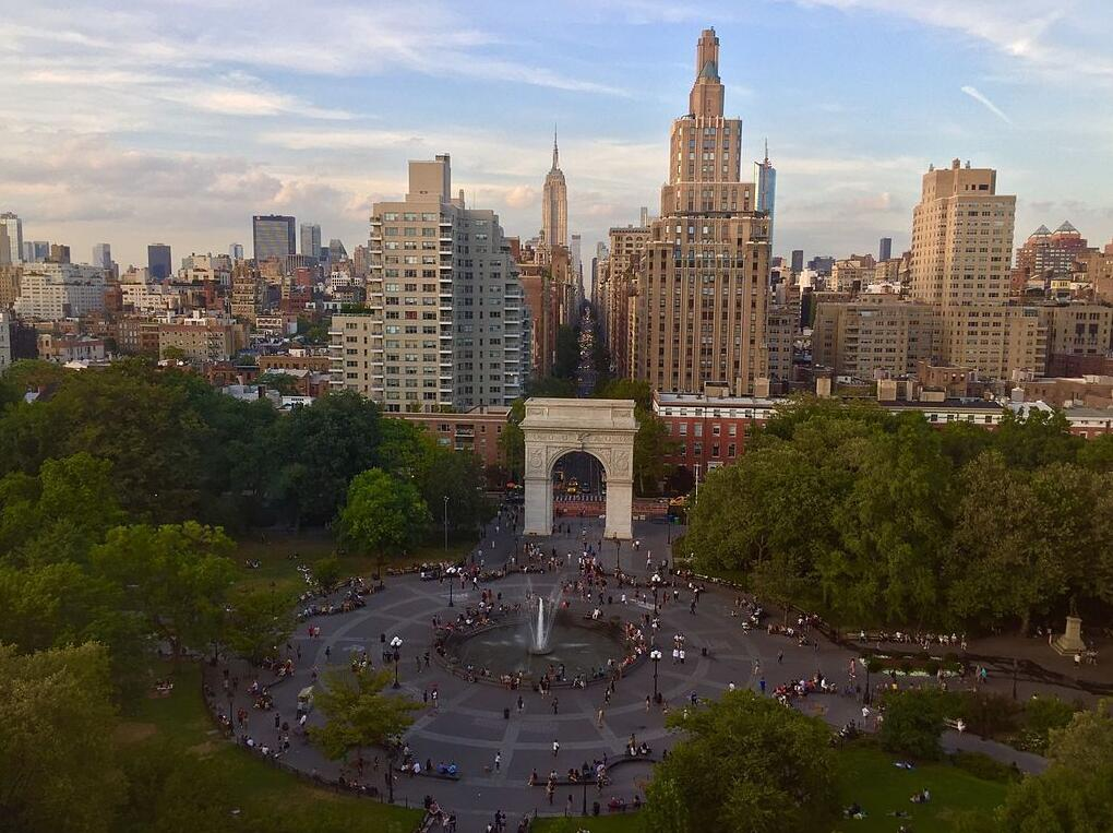 Washington Square Park Arch, mainly surrounded by NYU buildings
