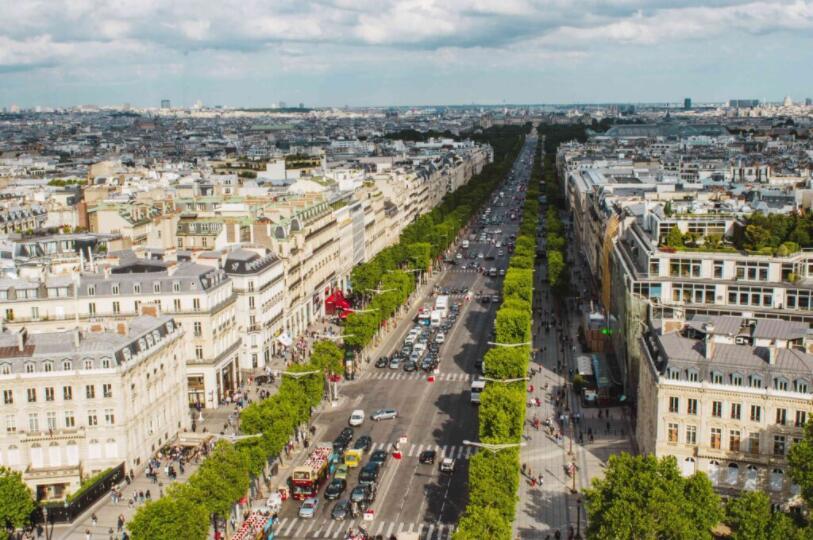 The famous Champs Élysées in the 8th arrondissement